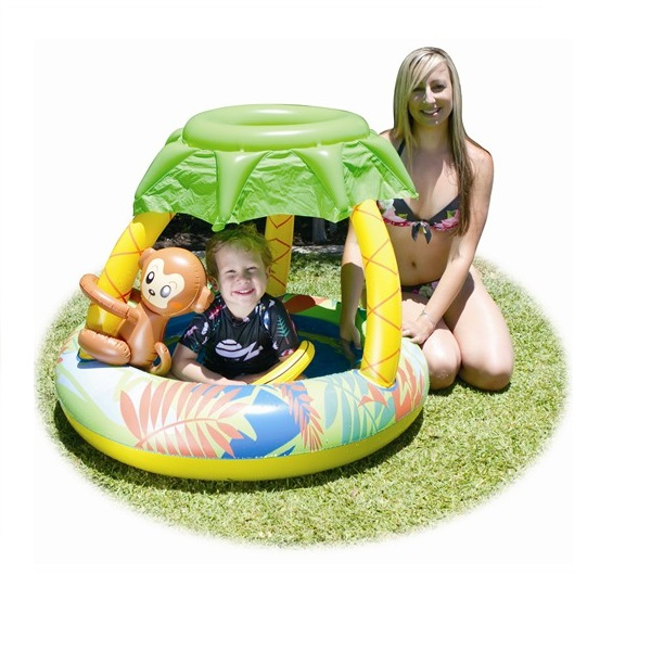 Airtime inflatable baby pool with sunroof with monkey for Baby garden pool