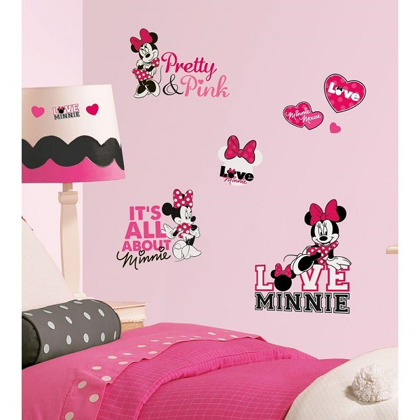 Minnie Mouse Loves Pink Wall Stickers Kids Bedroom Decor