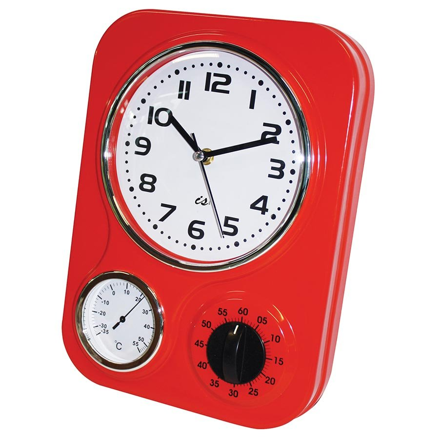 Retro 3 Function Red Metal Kitchen Wall Clock timer ...