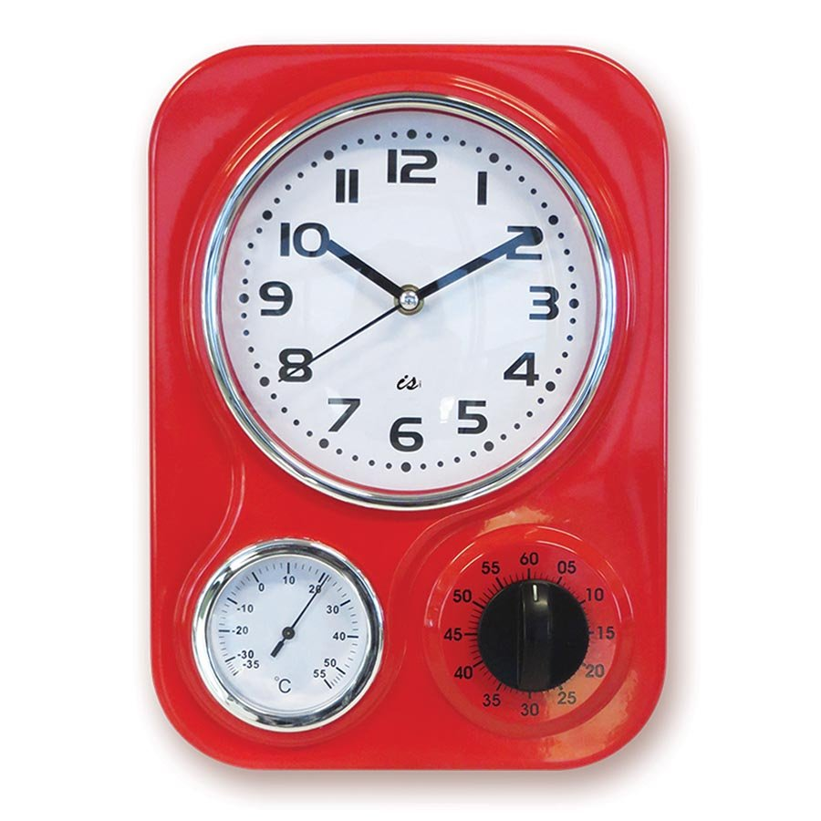 Retro 3 Function Red Metal Kitchen Wall Clock Timer