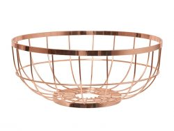 Fruit Basket Metal Open Grid Copper