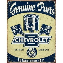 Chevy Parts Pistons Metal Tin Sign