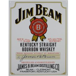 Jim Beam White Label Metal Tin Sign