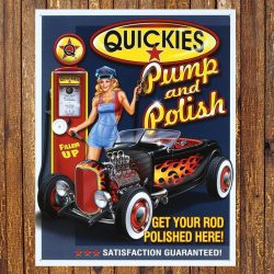 Quickies Pump and Polish Metal Tin Sign