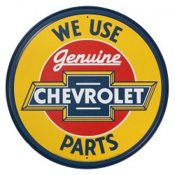 Chevy Round Genuine Parts Metal Tin Sign