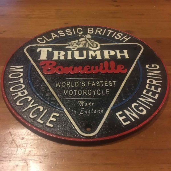 Triumph Cast Iron Round Sign