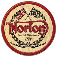 Norton Logo Round Metal Tin Sign