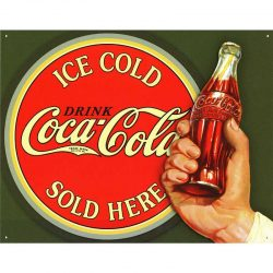 Coke Ice Cold Bullseye Metal Tin Sign