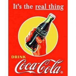 Coke Real Thing Bottle Metal Tin Sign