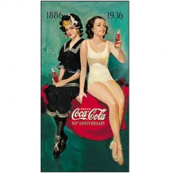 Coke 50th Anniversary Bathers Metal Tin Sign