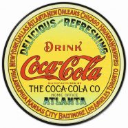 Coke Round Keg Label Metal Tin Sign