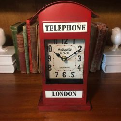 Metal London Telephone Clock