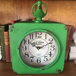 Old Town Green Metal Clock