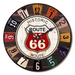 Route 66 Round Wall Clock
