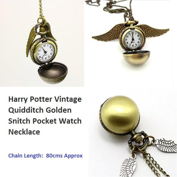 Harry Potter Quidditch Golden Pocket Watch Snitch Vintage