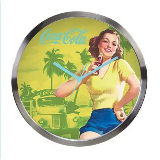 Coke Wall Clock Pin Up Palm Trees
