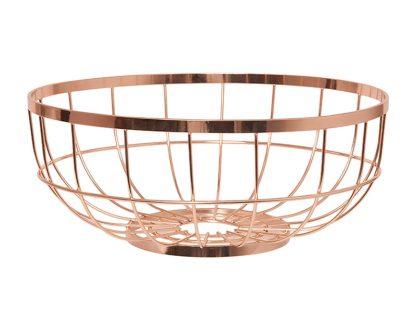 Fruit Basket Metal Open Grid Copper