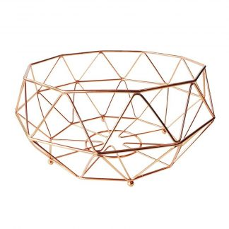 Geometric Copper Fruit Basket Large