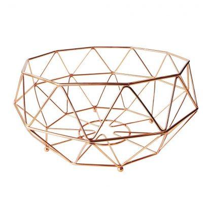 Geometric Copper Fruit Basket Large