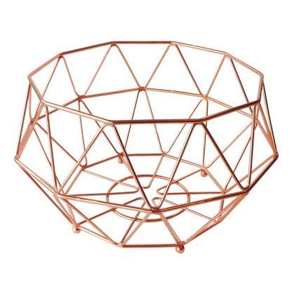 Geometric Copper Fruit Basket Medium