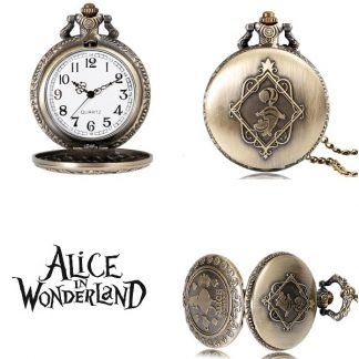 Alice in Wonderland Theme Quartz Pocket Watch