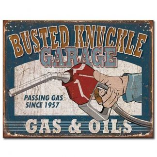 Busted Knuckle Gas & Oils Metal Tin Sign