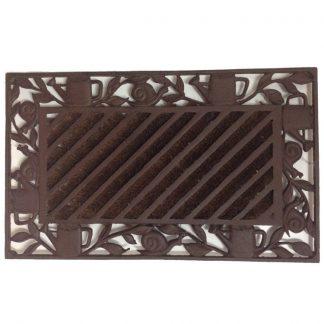 Cast Iron Doormat Snail Leaf w/coir