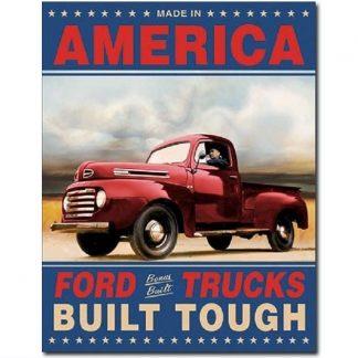 Ford Trucks Built Tough Metal Tin Sign
