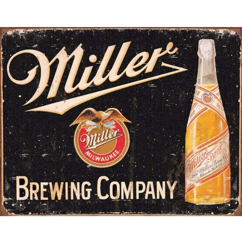miller brewing vintage metal tin sign retro kidscollections. Black Bedroom Furniture Sets. Home Design Ideas