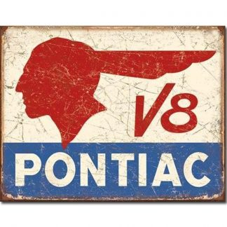 Pontiac V8 Metal Tin Sign