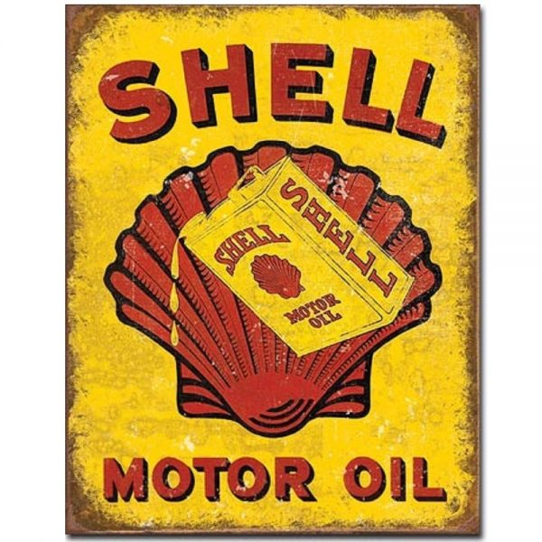Shell Oil Can Metal Tin Sign