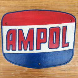 Ampol Motor Oil 30cm Hamburger Style Cast Iron Sign