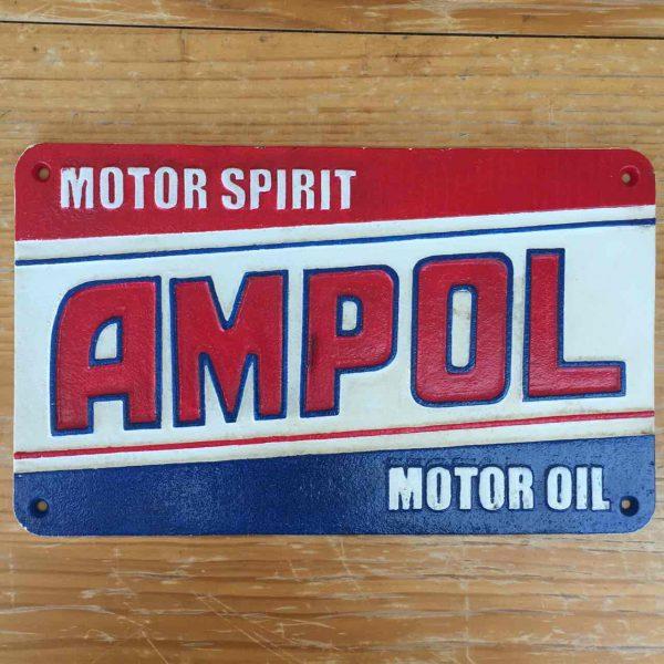 Ampol Motor Spirit Motor Oil 37cm Cast Iron Sign