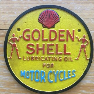 Golden Shell Lubricating Oil Motorcycles Cast Iron Sign