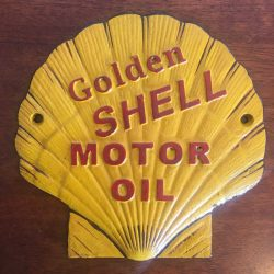 Golden Shell Motor Oil Clam Cast Iron Sign