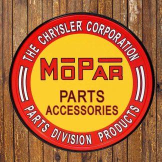 Mopar Parts Round Metal Tin Sign