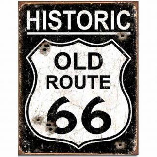 Old Route 66 Weathered Metal Tin Sign