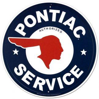 pontiac service metal tin sign