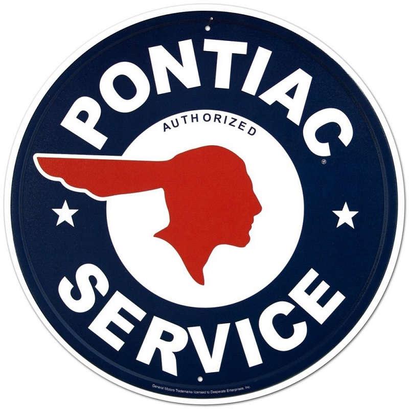 Vintage Pontiac Dealership: Pontiac Service Metal Tin Sign Round