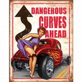 Dangerous Curves Ahead Metal Tin Sign