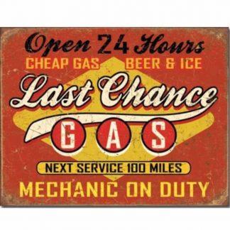 Last Chance Gas Metal Tin Sign