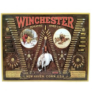 Winchester Rifles Bullet Board Metal Tin Sign
