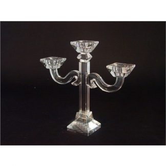 Crystal glass 3 head tapered candelabra