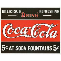 Coke 5 cents at Fountain Metal Tin Sign