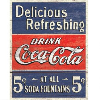 Coke Delicious 5 Cents Metal Tin Sign