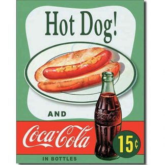 Coke Hot Dog Metal Tin Sign