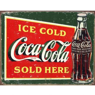 Coke Ice Cold Green Metal Tin Sign