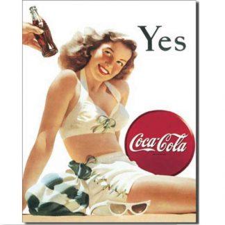 Coke White Bathing Suit Metal Tin Sign