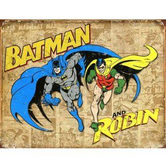 Batman & Robin Weathered Metal Tin Sign