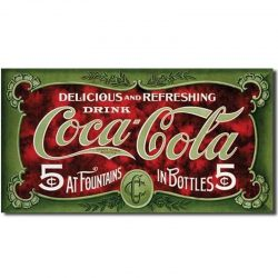 Coke 1900's 5 cent Metal Tin Sign